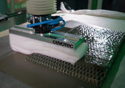 Cevotec Fiber Patch Placement on honeycomb core